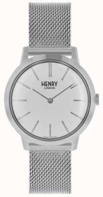 Henry London Icónico reloj para mujer plateado malla pulsera esfera blanca HL34-M-0231
