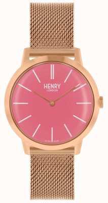 Henry London Reloj icónico para mujer reloj rosa malla de oro esfera rosa HL34-M-0272