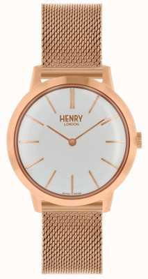 Henry London Reloj icónico para mujer con pulsera de malla de oro rosa esfera blanca HL34-M-0230
