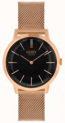 Henry London Icónico reloj de pulsera de malla de oro rosa con esfera negra HL34-M-0234