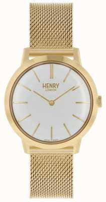 Henry London Reloj icónico para mujer | pulsera de malla de oro de acero inoxidable | HL34-M-0232