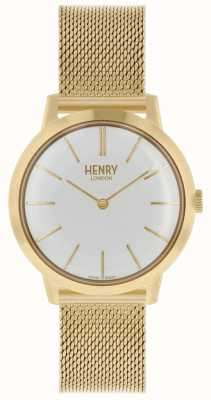 Henry London Reloj icónico para mujer reloj de pulsera de malla dorada esfera blanca HL34-M-0232