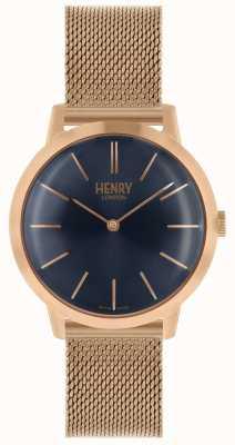 Henry London Reloj icónico para mujer con esfera de oro rosa, esfera azul HL34-M-0292