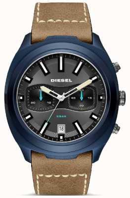 Diesel Mens tumbler blue case correa de cuero marrón reloj DZ4490