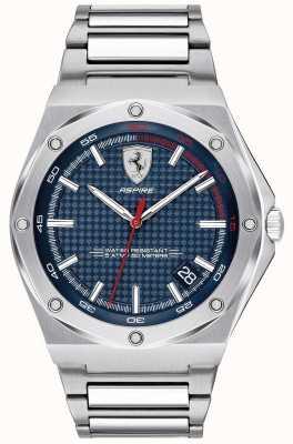 Scuderia Ferrari Hombres aspiran pantalla de fecha dial azul acero inoxidable 0830530