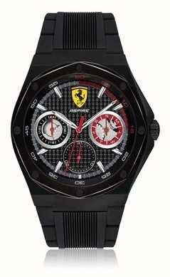 Scuderia Ferrari Aspire para hombre correa de caucho negro caso negro pantalla fecha 0830538