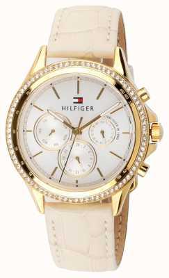 Tommy Hilfiger Conjunto de cristal plateado dorado de cuero beige para mujer multifunción 1781982