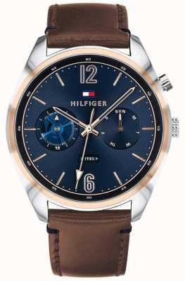 Tommy Hilfiger Esfera para hombre azul multifunción cuero marrón 1791549