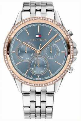 Tommy Hilfiger Conjunto de cristal chapado en oro rosa de acero inoxidable para mujer gris 1781976