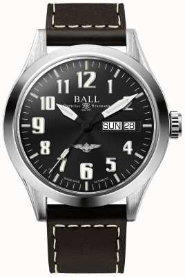 Ball Watch Company Engineer iii plateado correa de cuero marrón esfera negra NM2182C-L2J-BK