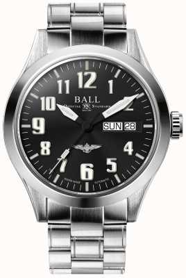 Ball Watch Company Brazalete de acero inoxidable plateado con esfera negra plateada Engineer iii NM2182C-S2J-BK