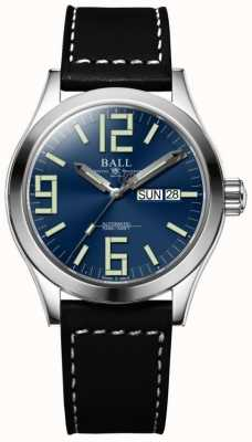 Ball Watch Company Engineer ii genesis esfera azul correa de cuero marrón día y fecha NM2026C-LBK7-BE