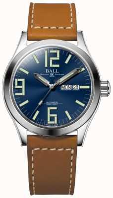 Ball Watch Company Engineer ii genesis esfera azul correa de cuero marrón claro día y fecha NM2028C-LBR7-BE