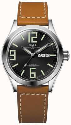 Ball Watch Company Engineer ii genesis esfera negra correa de cuero marrón claro día y fecha NM2028C-LBR7-BK