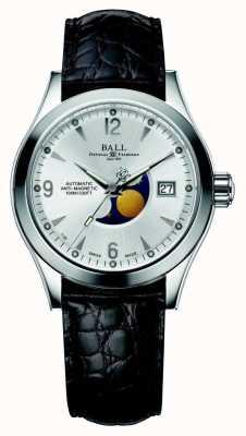 Ball Watch Company Correa de cuero con fecha plateada automática de la luna fase Ohio NM2082C-LJ-SL
