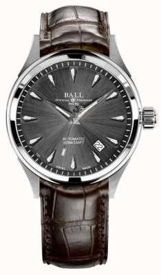 Ball Watch Company Trainmaster leyenda gris sunray dial correa de cuero marrón NM3080D-LJ-GY