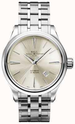 Ball Watch Company Trainmaster leyenda marca de crema automática fecha de acero inoxidable NM3080D-SJ-SL