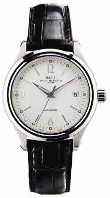 Ball Watch Company Streamliner marca de fecha de marcado automático blanco cuero negro NM1060D-LFJ-WH