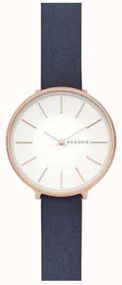 Skagen Reloj de mujer karolina correa de cuero azul rosa dorado SKW2723