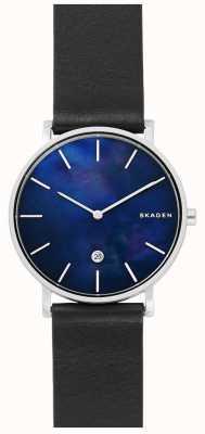 Skagen Reloj de hombre Hagen negro cuero correa azul esfera SKW6471