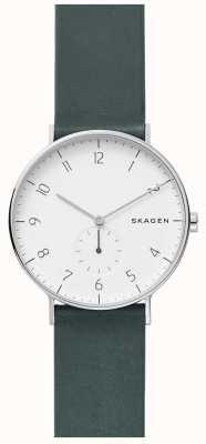 Skagen Reloj de correa de cuero verde aaren para hombre SKW6466