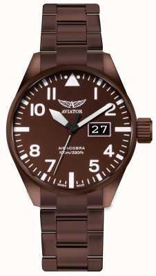 Aviator Reloj de acero con revestimiento de bronce aircobra p42 para hombre V.1.22.8.151.5