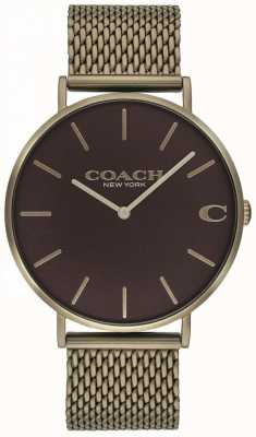 Coach Reloj de pulsera de malla de bronce de Mens charles 14602147