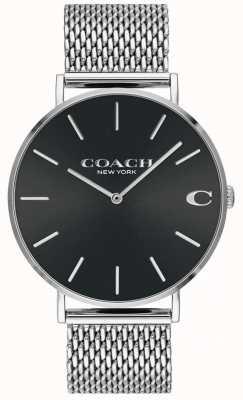 Coach Pulsera de malla plateada charles para hombre esfera negra 14602144