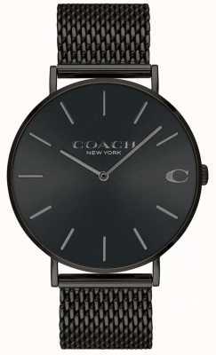 Coach Reloj charles negro de malla con esfera negra para hombre. 14602148