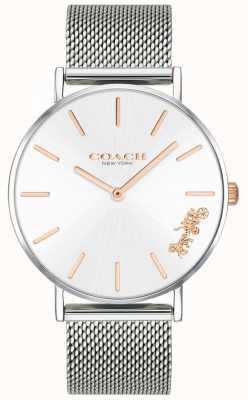 Coach Reloj de pulsera de malla de plata perry para mujer. 14503124