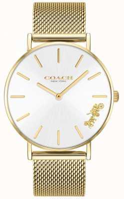 Coach Reloj de pulsera de malla dorada perry para mujer. 14503125