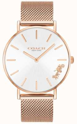 Coach Reloj de pulsera de malla de oro rosa perry para mujer. 14503126