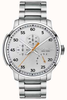 Coach Reloj multifunción para hombre Bleecker plateado 14602358