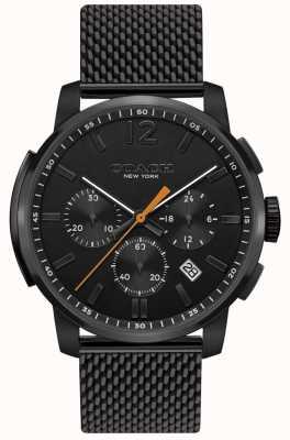 Coach Mens bleecker multifunción reloj crono negro malla 14602344