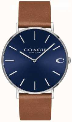 Coach Charles mens correa de cuero marrón esfera azul 14602151