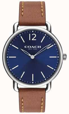 Coach Reloj delancey para hombre delgado con esfera azul correa de cuero marrón 14602345