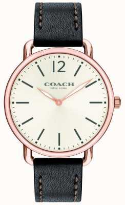 Coach Reloj para hombre delancey delgado esfera blanca correa de cuero negro 14602347