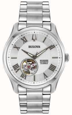 Bulova Reloj de plata automático de acero inoxidable wilton para hombre 96A207
