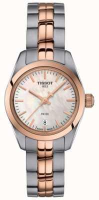Tissot Señoras pr100 dos tonos pulsera madre perla reloj dial T1010102211101