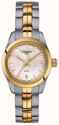 Tissot Señoras pr100 dos tonos pulsera madre perla reloj dial T1010102211100