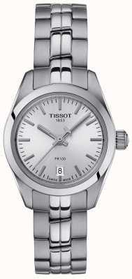 Tissot Señoras pr100 pulsera de acero inoxidable plata esfera reloj T1010101103100