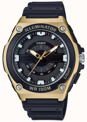 Casio Reloj iluminador de resina negra y dorada para hombre MWC-100H-9AVEF