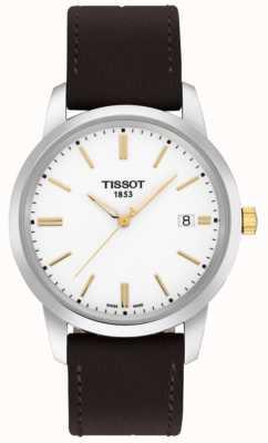 Tissot Correa de cuero marrón para hombre clásica con diseño en blanco T0334102601101