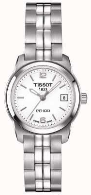 Tissot Dial de plata de acero inoxidable pr100 para mujer hecho en Suiza T0492101101700