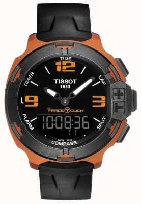 Tissot Correa de goma negra de la alarma del tacto de la t-raza para hombre T0814209705703