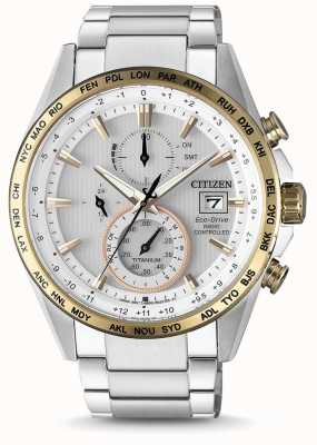 Citizen Mens radio controlado eco-drive mundial temporizador titanio AT8156-87A