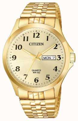 Citizen Pulsera de expansión chapada en oro de cuarzo fecha del día BF5002-99P