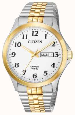 Citizen Mens cuarzo dos tonos pulsera de expansión de acero inoxidable fecha BF5004-93A