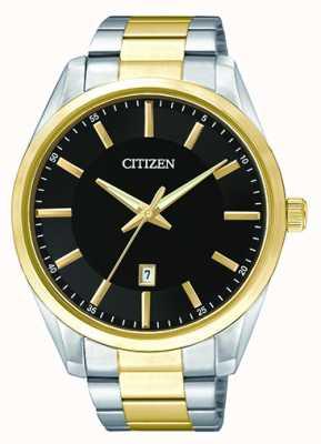 Citizen Hombres dos tonos de cuarzo esfera negra fecha BI1034-52E