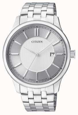 Citizen Pantalla de fecha de diseño minimalista de acero inoxidable para hombre de cuarzo BI1050-56A